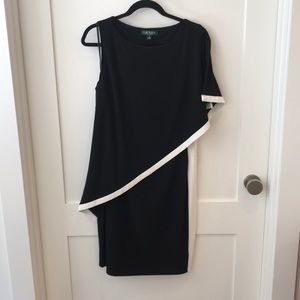 Black and White Ralph Lauren Asymmetrical Dress